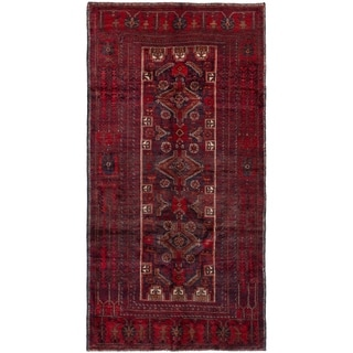 ECARPETGALLERY Hand-knotted Finest Baluch Red Wool Rug - 3'1 x 6'1