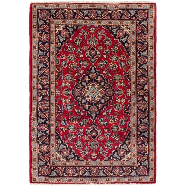 ECARPETGALLERY Hand-knotted Kashan Red Wool Rug - 3'3 x 4'8