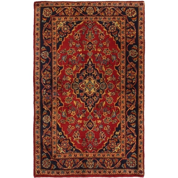 ECARPETGALLERY Hand-knotted Kashan Red Wool Rug - 3'5 x 5'5