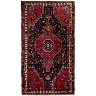 ECARPETGALLERY Hand-knotted Hamadan Dark Navy, Red Wool Rug - 4'6 x 8'3