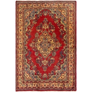 ECARPETGALLERY Hand-knotted Hamadan Red Wool Rug - 4'5 x 6'6