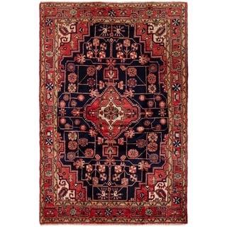 ECARPETGALLERY Hand-knotted Hamadan Dark Navy, Red Wool Rug - 4'8 x 7'0