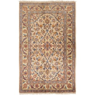 ECARPETGALLERY Hand-knotted Kashan Cream Wool Rug - 3'2 x 5'1