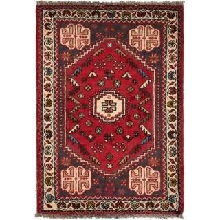 ECARPETGALLERY Hand-knotted Shiraz Qashqai Red Wool Rug - 2'5 x 3'6