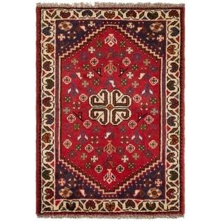 ECARPETGALLERY Hand-knotted Shiraz Qashqai Red Wool Rug - 2'4 x 3'3