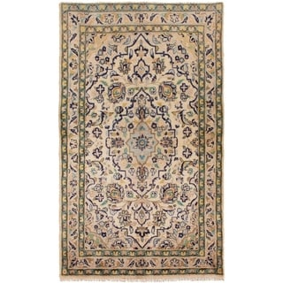 ECARPETGALLERY Hand-knotted Kashan Cream Wool Rug - 3'2 x 5'4