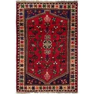 ECARPETGALLERY Hand-knotted Shiraz Qashqai Red Wool Rug - 2'4 x 3'5