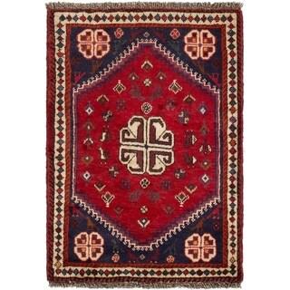 ECARPETGALLERY Hand-knotted Shiraz Qashqai Red Wool Rug - 2'3 x 3'3