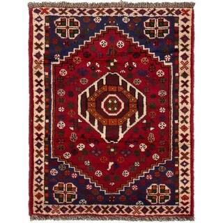 ECARPETGALLERY Hand-knotted Shiraz Qashqai Red Wool Rug - 2'3 x 3'1