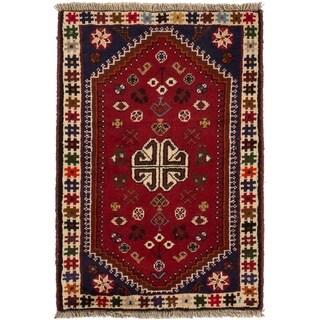 ECARPETGALLERY Hand-knotted Shiraz Qashqai Red Wool Rug - 2'2 x 3'3