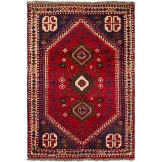 ECARPETGALLERY Hand-knotted Shiraz Qashqai Red Wool Rug - 2'4 x 3'6