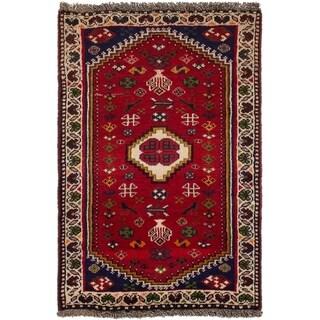 ECARPETGALLERY Hand-knotted Shiraz Qashqai Red Wool Rug - 2'3 x 3'6