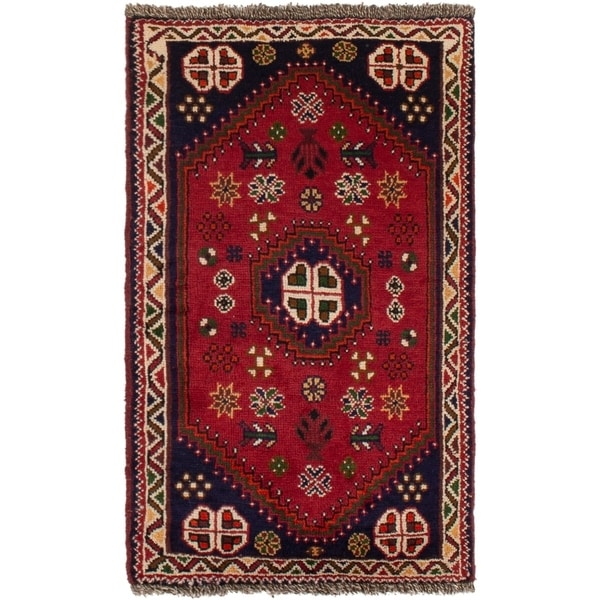 ECARPETGALLERY Hand-knotted Shiraz Qashqai Red Wool Rug - 2'1 x 3'8