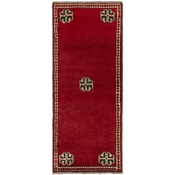 ECARPETGALLERY Hand-knotted Shiraz Qashqai Red Wool Rug - 2'4 x 6'2