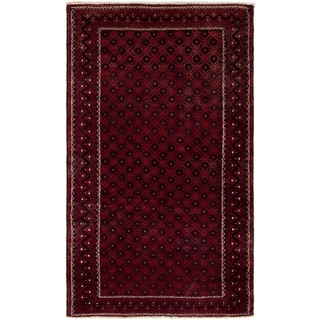 ECARPETGALLERY Hand-knotted Finest Baluch Red Wool Rug - 3'11 x 6'9