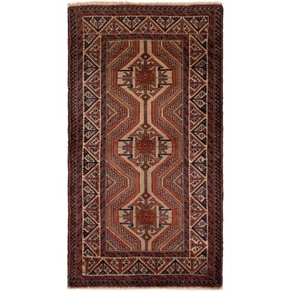 ECARPETGALLERY Hand-knotted Finest Baluch Light Brown, Red Wool Rug - 2'8 x 5'2
