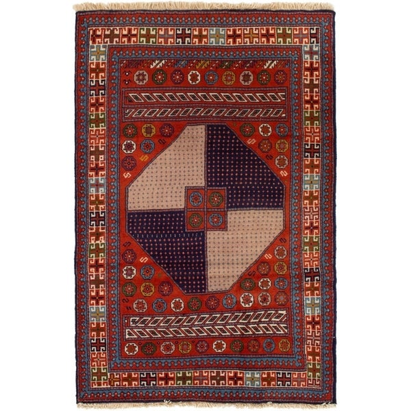 ECARPETGALLERY Hand-knotted Guchan Red Wool Rug - 3'10 x 6'1