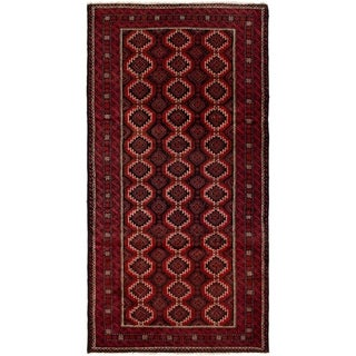 ECARPETGALLERY Hand-knotted Finest Baluch Red Wool Rug - 4'2 x 8'3