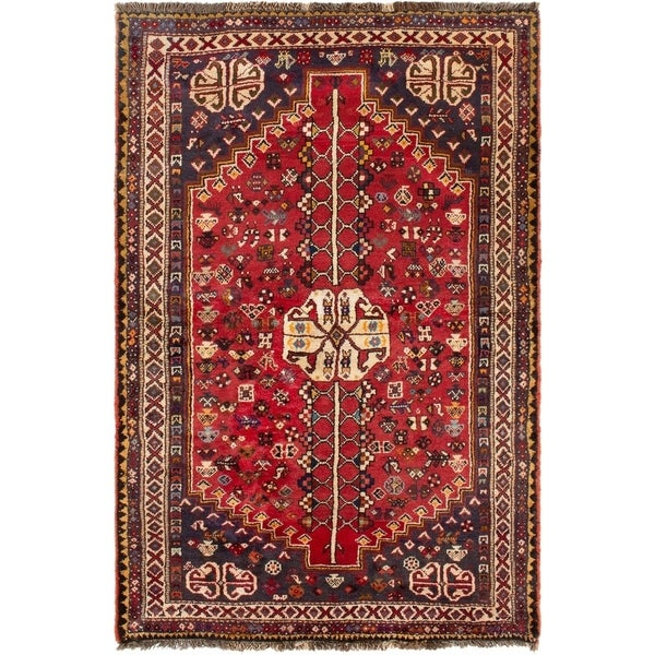 ECARPETGALLERY Hand-knotted Shiraz Red Wool Rug - 3'11 x 5'11
