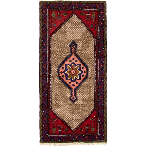 ECARPETGALLERY Hand-knotted Koliai Khaki, Red Wool Rug - 2'11 x 6'6