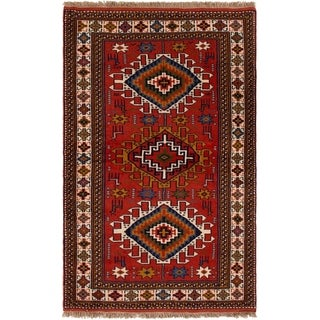 ECARPETGALLERY Hand-knotted Guchan Red Wool Rug - 3'8 x 6'0