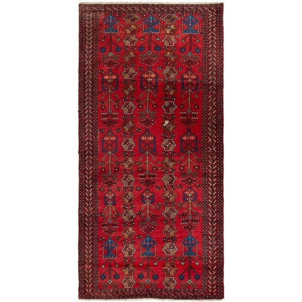 ECARPETGALLERY Hand-knotted Finest Baluch Red Wool Rug - 4'1 x 5'3