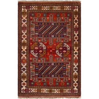 ECARPETGALLERY Hand-knotted Guchan Red Wool Rug - 4'0 x 6'2