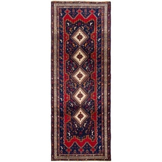 ECARPETGALLERY Hand-knotted Afshar Red Wool Rug - 3'5 x 9'4