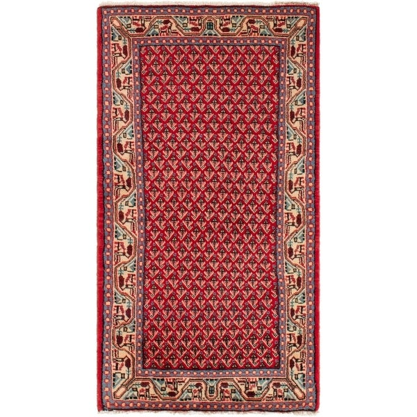 ECARPETGALLERY Hand-knotted Sarough Red Wool Rug - 2'2 x 4'1