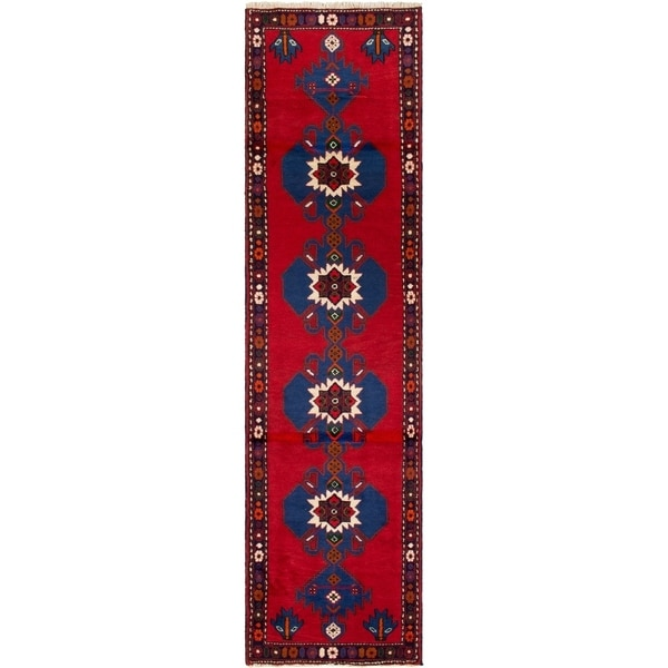 ECARPETGALLERY Hand-knotted Saveh Red Wool Rug - 2'4 x 9'5