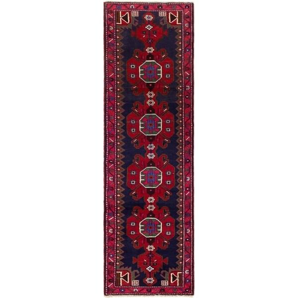 ECARPETGALLERY Hand-knotted Saveh Dark Navy, Red Wool Rug - 2'8 x 9'3