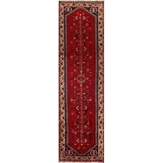 ECARPETGALLERY Hand-knotted Shiraz Qashqai Red Wool Rug - 2'6 x 9'1