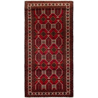 ECARPETGALLERY Hand-knotted Finest Baluch Red Wool Rug - 3'10 x 7'11