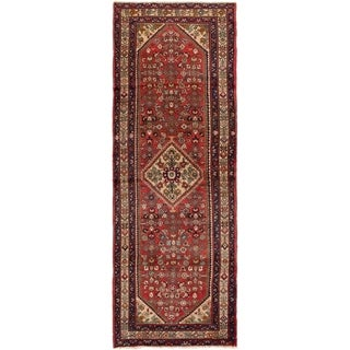 ECARPETGALLERY Hand-knotted Hosseinabad Red Wool Rug - 3'6 x 10'4