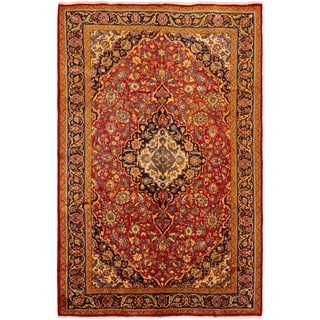 ECARPETGALLERY Hand-knotted Mahal Red Wool Rug - 7'1 x 10'11