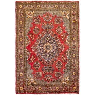 ECARPETGALLERY Hand-knotted Saveh Red Wool Rug - 7'5 x 10'11