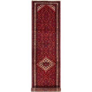 ECARPETGALLERY Hand-knotted Hosseinabad Red Wool Rug - 3'1 x 14'1