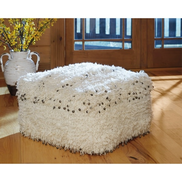 Signature Design by Ashley Celeste Pouf in White (As Is Item). Opens flyout.