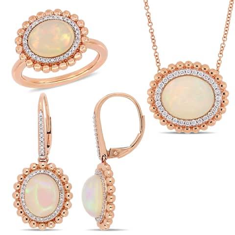 Miadora 14k Rose Gold Ethiopian Opal and 5/8ct TDW Diamond Beaded Halo Jewelry Set