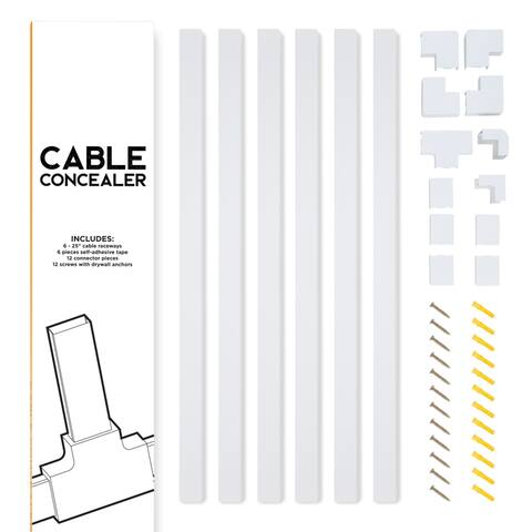 Cable Concealer On-Wall Cord Cover 6 Raceway Kit - Cable Management System to Hide Cables, Cords or Wires