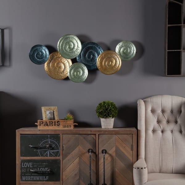 Multicolor Metal Swirl Plates Wall Art Free Shipping
