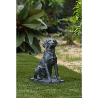 15.6in. H Dark Gray Foxhound Dog on Rectangular Base Garden Statue