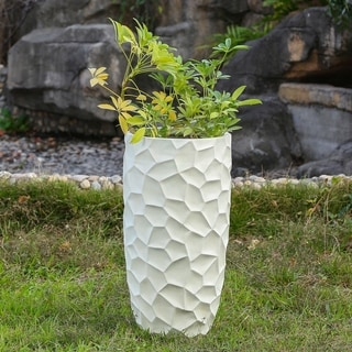 22.4in. H MgO Fiberclay White Wavy Tall Planter