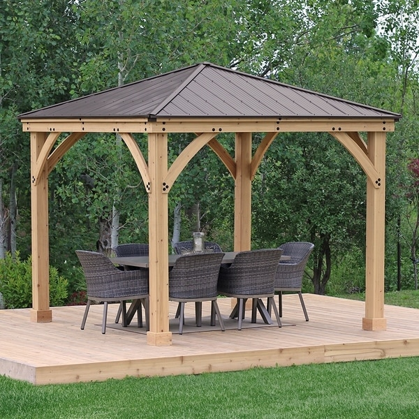 Shop 10 X 10 Meridian Wood Gazebo With Aluminum Roof