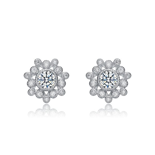 Clear Cubic Zirconia Black Center Flower Stud Earrings Rhodium Plated Sterling Silver
