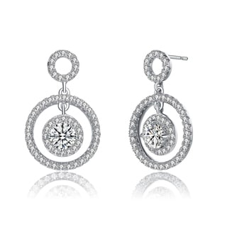 Link to Collette Z Sterling Silver with Rhodium Plated Clear Round Cubic Zirconia Three Halo Drop Earrings Similar Items in Earrings