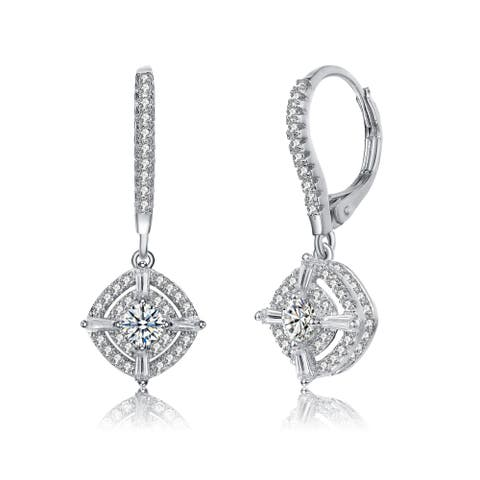 Collette Z Sterling Silver with Rhodium Plated Clear Round and Baguette Cubic Zirconia Accent Square Leverback Earrings