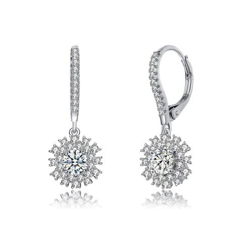 Collette Z Sterling Silver with Rhodium Plated Clear Round CZ Coaxial Leverback Earrings