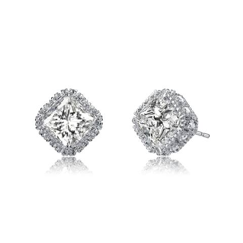 Collette Z Sterling Silver with Rhodium Plated Clear Radiant Cubic Zirconia Square Stud Earrings