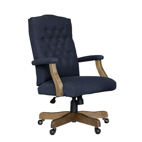 BOSS Executive Navy Commercial Grade Linen Chair With Driftwood Finish Frame
